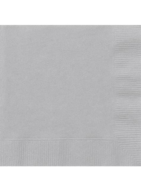 20 grandes serviettes argentées - Gamme couleur unie