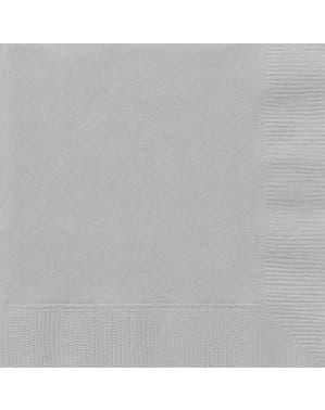 20 grandes Serviettes en papier argentées - Gamme couleur unie