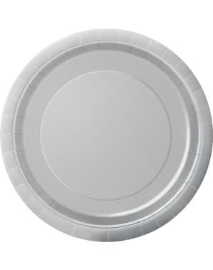 8 assiettes argentées - Gamme couleur unie