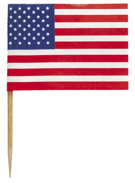30 American Flag Cake Toppers - American Party
