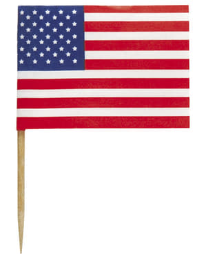 30 toppers decorativos Bandera de USA - American Party