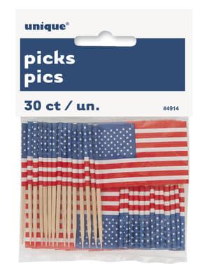 30 Amerikansk Flagg Kaketopper - Amerikansk Party