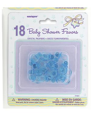 18 chupetes azules de decoración