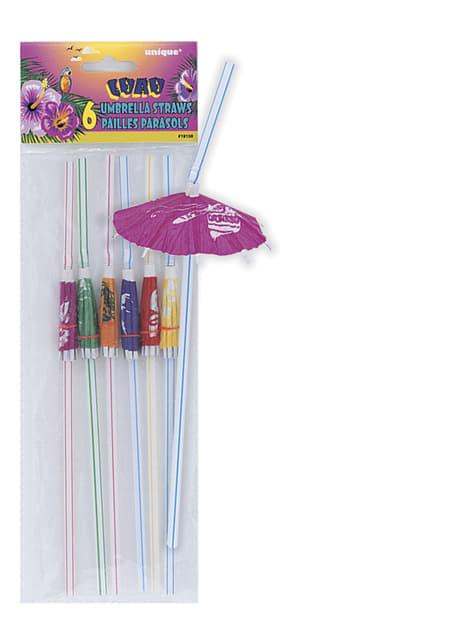 6 pajitas hawaianas - Luau Umbrella - para niños y adultos