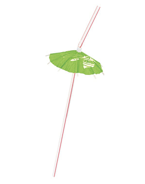 Sett med 6 Hawaii sugerør - Luau Umbrella