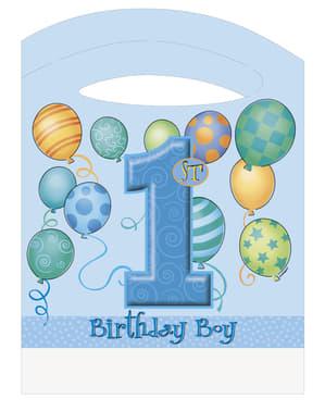 Set med första födelsedagen blå
