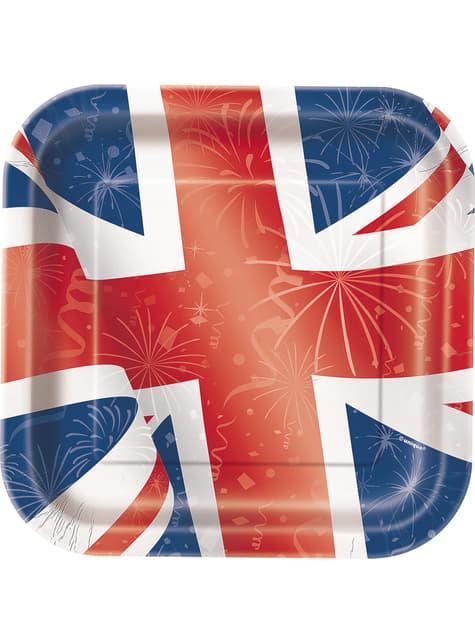 8 platos cuadrados (23 cm) - Best of British
