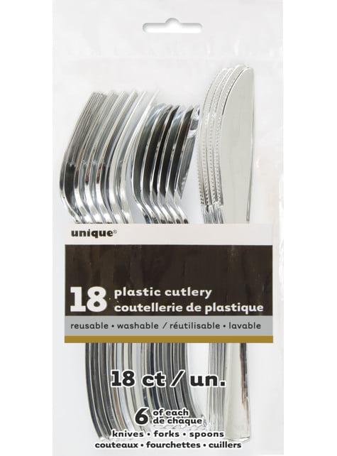 Set de cubiertos de plástico plateados - Línea Colores Básicos - para tus fiestas