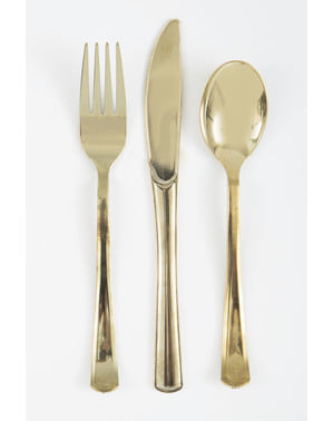 Set of gold plastic cutlery - Basic Colours Line