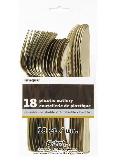 Set de cubiertos de plástico dorados - Línea Colores Básicos - para tus fiestas