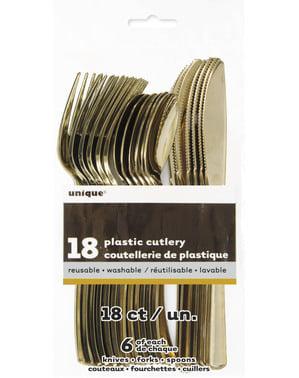 Setti kultaisia muoviruokailuvälineitä - Perusvärilinja