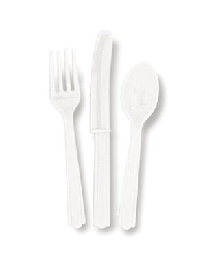 Zestaw białych plastikowych sztućców - Linia kolorów podstawowych