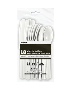 Conjunto de talheres de plástico cor branco - Linha Cores Básicas