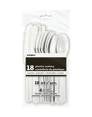 Couverts en plastique couleur blanc - Gamme couleur unie