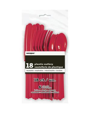 Conjunto de talheres de plástico cor vermelho - Linha Cores Básicas