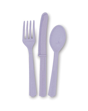 Lilac plastic cutlery set - Basic Colours Line