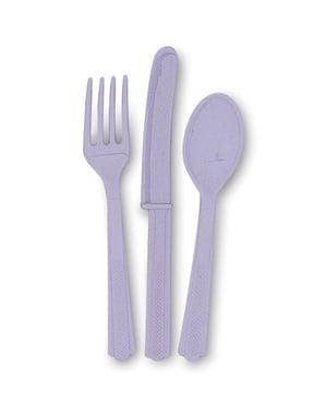 Set od lila plastike za jelo - linija osnovnih boja