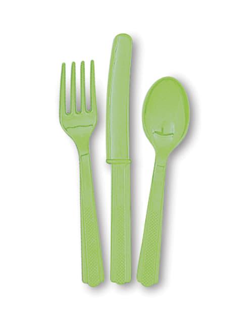 Set de cubiertos de plástico color verde lima - Línea Colores Básicos