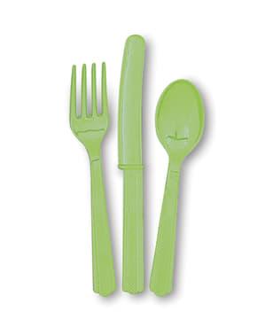 Conjunto de talheres de plástico cor verde lima - Linha Cores Básicas