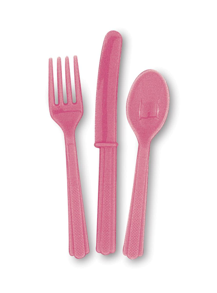 couverts en plastique couleur rose ligne couleurs. Black Bedroom Furniture Sets. Home Design Ideas