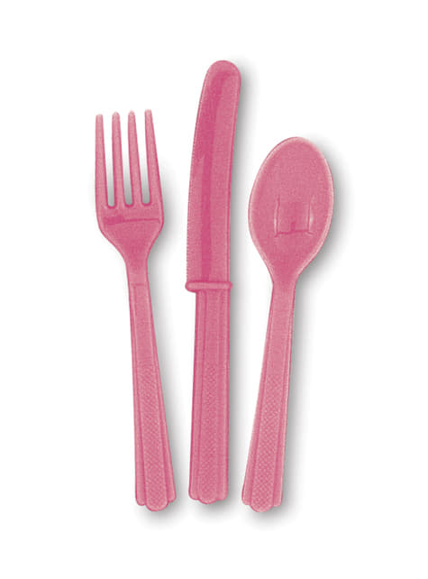 Set de cubiertos de plástico color rosa - Línea Colores Básicos