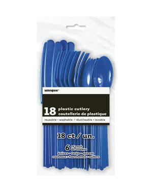 Комплект от тъмносини пластмасови прибори за хранене - Основна линия за цветове