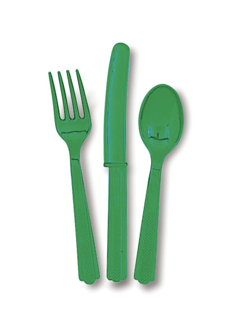 couverts en plastique couleur vert esmeralda ligne. Black Bedroom Furniture Sets. Home Design Ideas