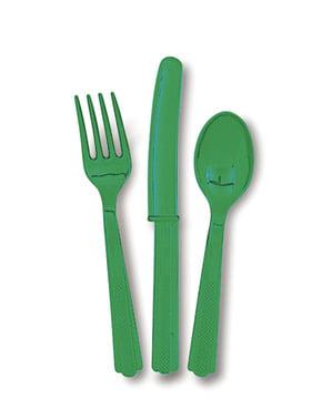 Emeraldin vihreä muovinen ruokailuvälinesetti - Perusvärilinja