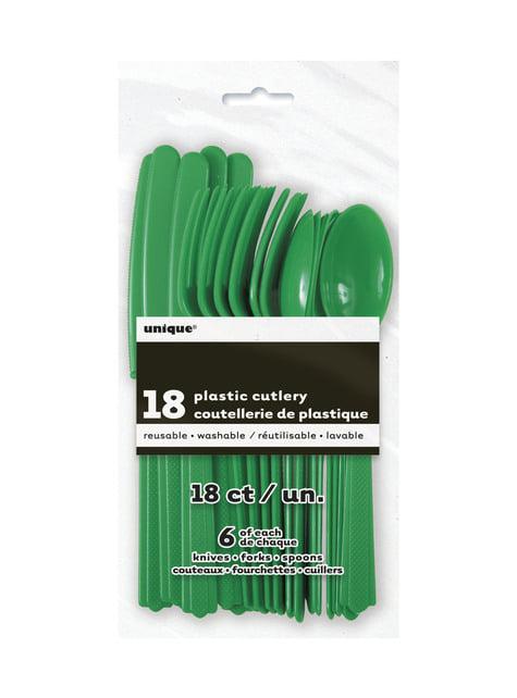 Set de cubiertos de plástico color verde esmeralda - Línea Colores Básicos - para tus fiestas