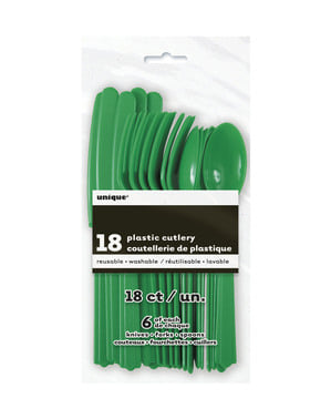 Emerald green plastic cutlery set - Basic Colours Line