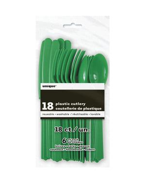 Set de cubiertos de plástico color verde esmeralda - Línea Colores Básicos