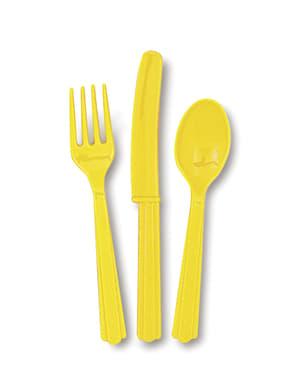 Couverts en plastique couleur jaune - Gamme couleur unie