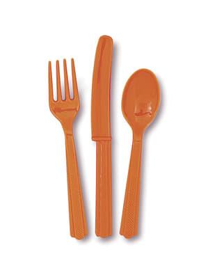 Set de cubiertos de plástico color naranja - Línea Colores Básicos