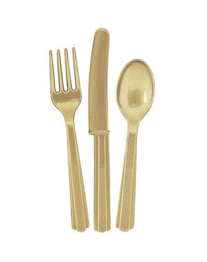 Set de cubiertos de plástico color dorado - Línea Colores Básicos