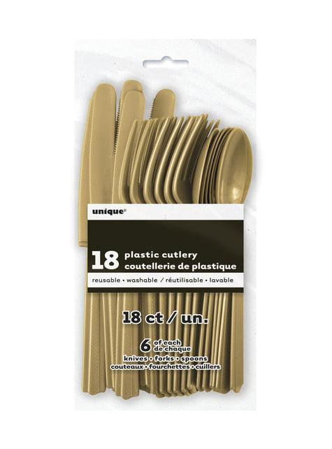 Set de cubiertos de plástico color dorado - Línea Colores Básicos - para tus fiestas