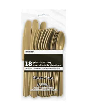 Conjunto de talheres de plástico cor dourado - Linha Cores Básicas
