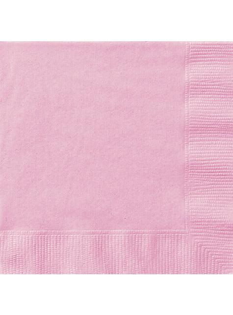 20 grandes Serviettes en papier roses clair - Gamme couleur unie