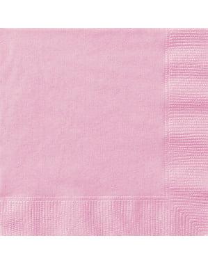 Zestaw 20 dużych jasnoróżowych serwetek - Linia kolorów podstawowych