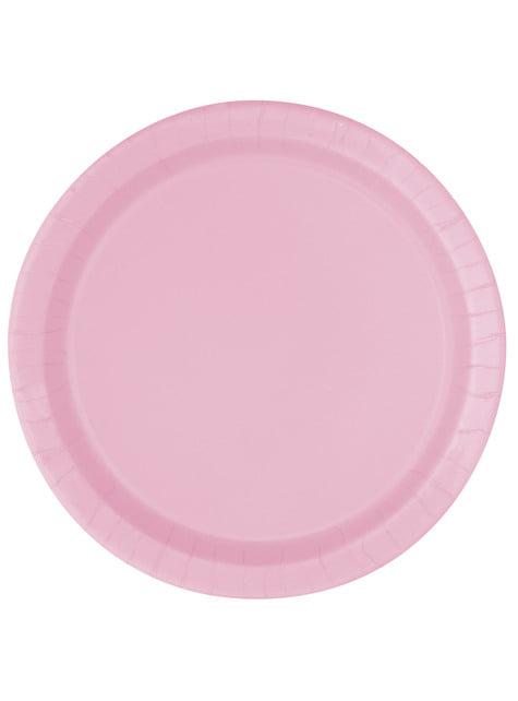 Dessertteller Set 20-teilig hellrosa - Basic-Farben Kollektion