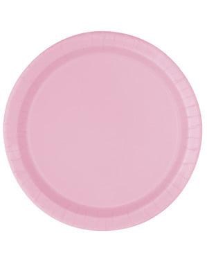 20 pratos de sobremesa cor-de-rosa clar (18 cm) - Linha Cores Básicas