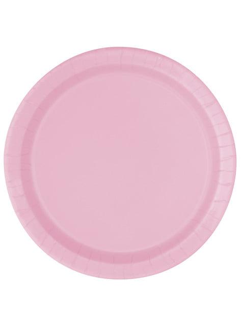 16 platos rosa claro (23 cm) - Línea Colores Básicos