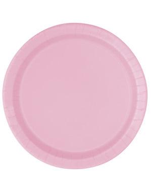 Zestaw 16 jasnoróżowych talerzy - Linia kolorów podstawowych
