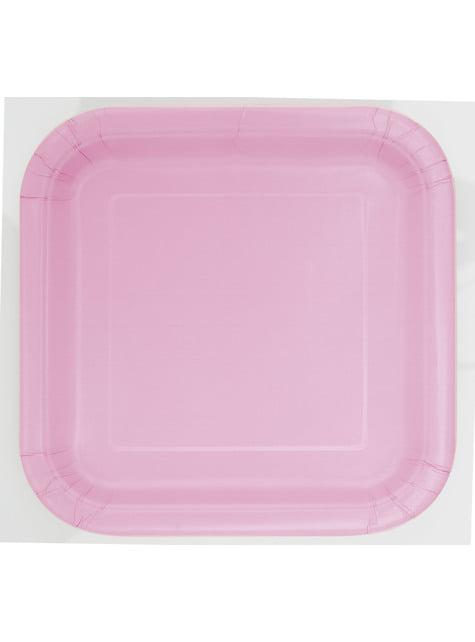16 platos cuadrados pequeños rosa claro (18 cm) - Línea Colores Básicos