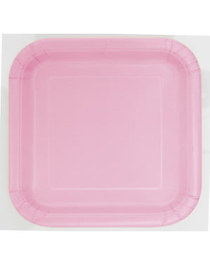 14 assiettes carrées rose clair - Gamme couleur unie
