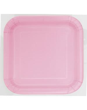 Zestaw 14 jasnoróżowych kwadratowych talerzy - Linia kolorów podstawowych