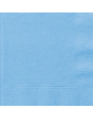 Sett med 20 store himmelblå servietter - Grunnleggende Farger Kolleksjon