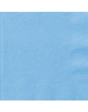 Sæt af 20 store himmel blå servietter - Basale farver linje