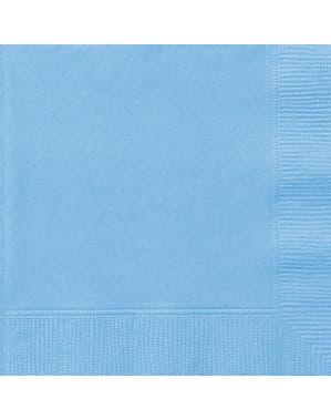 50 grandes Serviettes en papier bleues ciel - Gamme couleur unie