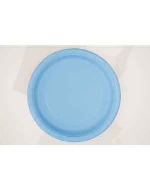 8 hemelsblauwe borde (23 cm) - Basis Kleuren Lijn