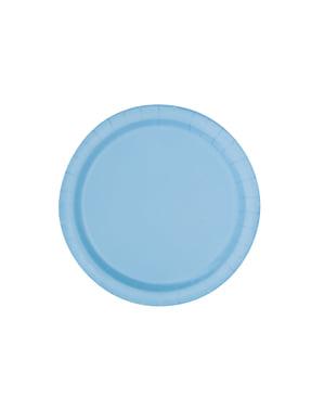 20 assiettes à dessert bleu ciel - Gamme couleur unie